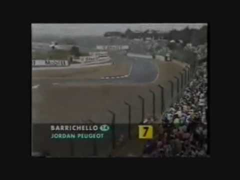 barrichello crashes his jordan at the 1995 japanese grand prix.