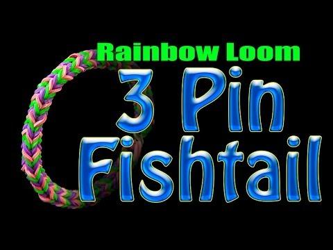 Rainbow Loom 3 Pin Fishtail - Easy How to tutorial