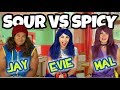 SOUR CANDY VS SPICY FOOD CHALLENGE. (Descendants Characters) 2018