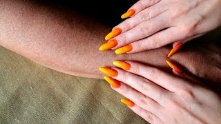 ASMR #098 - Soft arm scratching with long orange and yellow nails!
