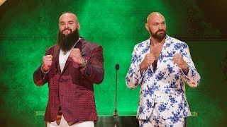 Tyson Fury shares an intense handshake with Braun Strowman: WWE Announcement, Oct. 11, 2019