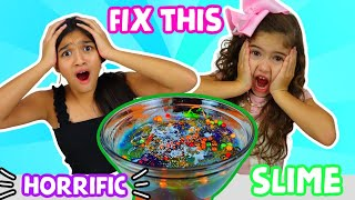FIX THIS HORRIFIC SLIME CHALLENGE!!!| Jasmine and Bella