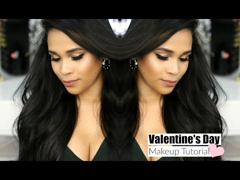 Valentine's Day Gold & Nude Makeup Tutorial Using Revealed Smoky Palette - Medium Skin  MissLizHeart