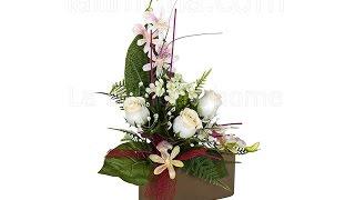 Arreglos florales artificiales. Jardinera cerámica rosas artificiales blancas - La Llimona