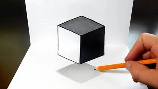 How to Draw a Levitating Cube for Kids - Easy 3D Trick Art