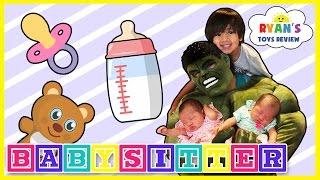 Hulk Funny Kids Video babysitting with Ryan ToysReview