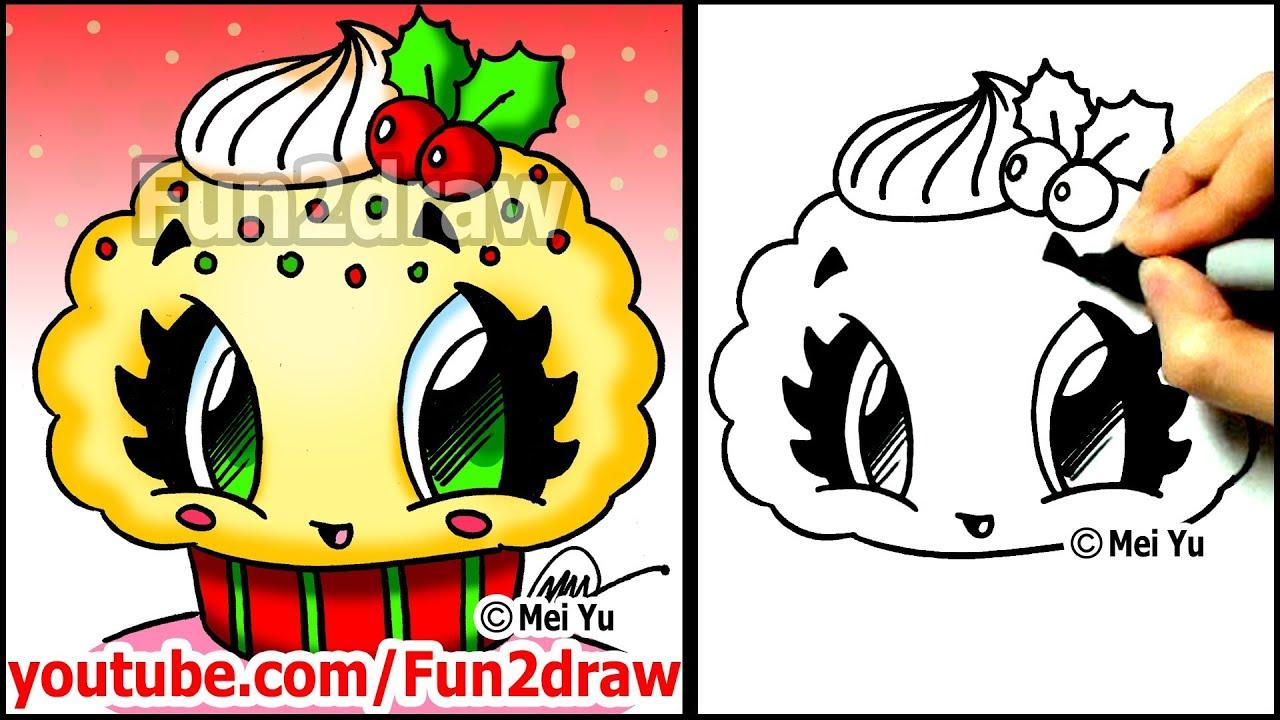 Christmas Cartoons to Draw Draw a Christmas Cupcake