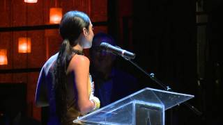 Kenny Ortega presents Vanessa Hudgens with IDA Breakthrough Performer Award.