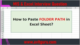 HOW TO PASTE FOLDER PATH IN EXCEL SHEET