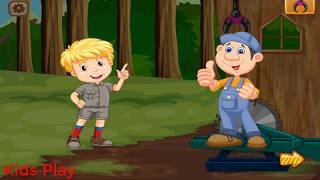 Bé đốn gỗ  - Cần cẩu chuyển gỗ    đồ chơi trẻ em -  kids play
