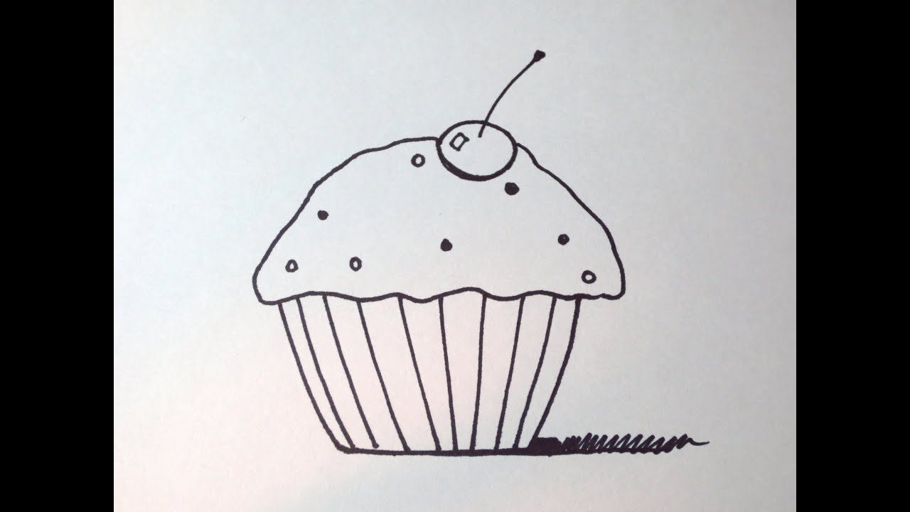 how to draw a cute cupcake easy