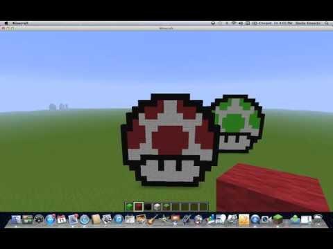 Minecraft Pixel Art Mario Mushroom Tutorial