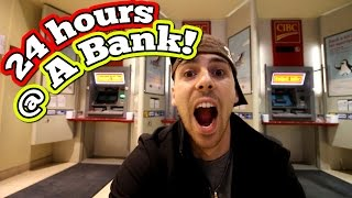 24 HOUR OVERNIGHT CHALLENGE AT A BANK // PRANK ON MY DAD OVERNIGHT IN A BANK CHALLENGE