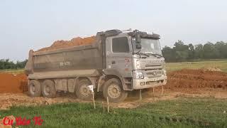 Ô tô chở đất đổ ben, máy xúc múc đất lên xe ô tô ben ❤. Nhạc thiếu nhi vui nhộn.