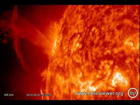 C1.8 class solar flare - Eruption at East on the Sun with CME (September 23, 2012) - Video Vax