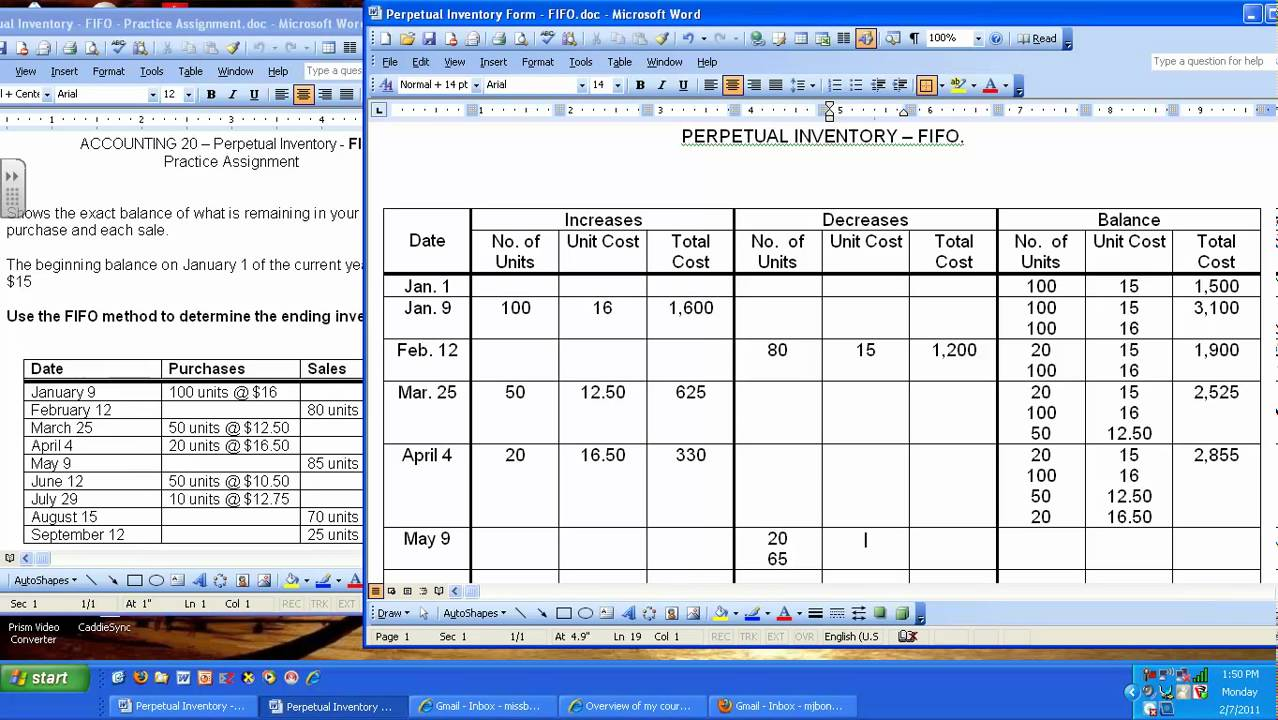 perpetual inventory fifo
