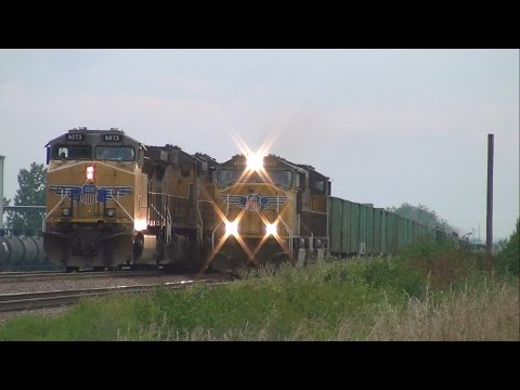 Union Pacific work train passes stopped manifest at ethanol plant, Nevada, Iowa
