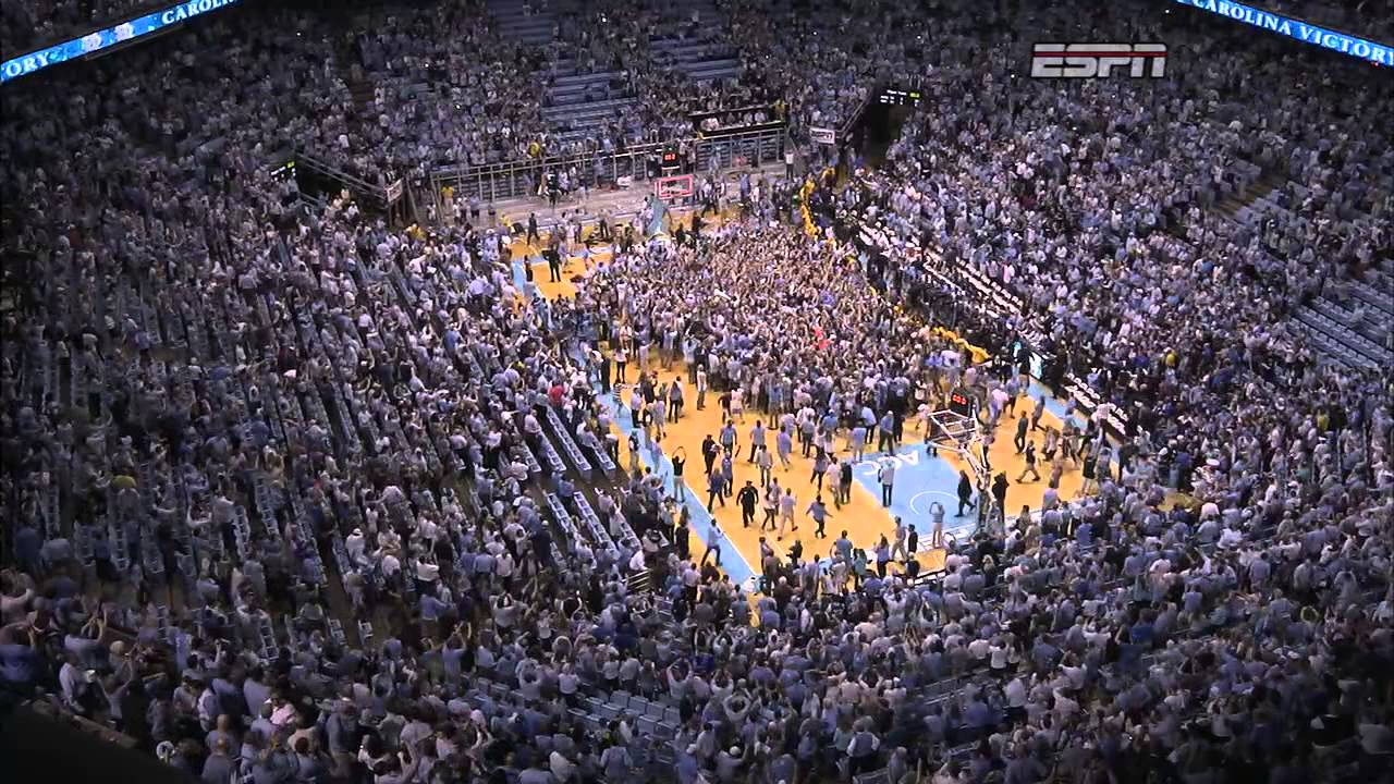 UNC Mens Basketball Fans Rush Court After Win Vs Duke