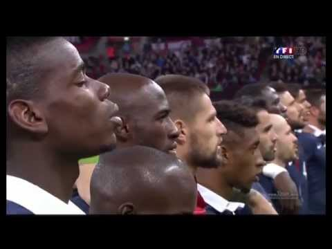 HD Pray for the peace | England vs France Entry of the players & La Marseillaise & minute of silence