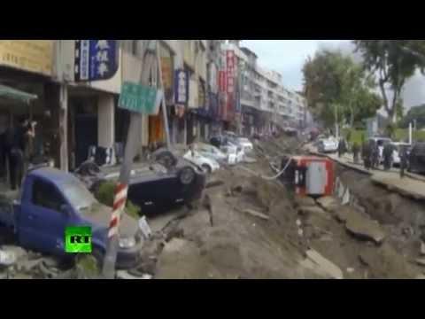 Gas leak in sewage system destroys southwest Taiwan