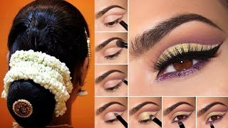 South Indian Bridal Makeup and Hairstyle Tutorial |Simple Bridal Bun Hairstyle &Makeup For Reception