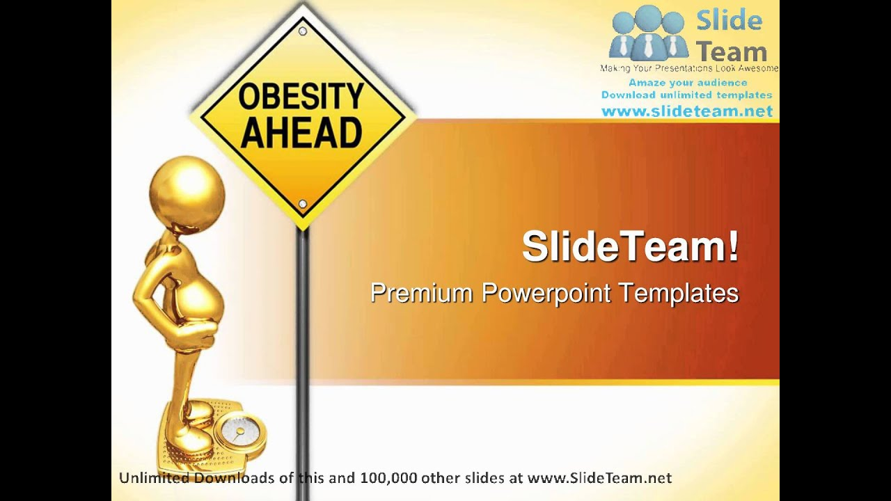 obesity road sign metaphor powerpoint templates themes and