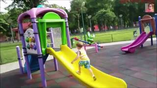 Kids playing at a playground. Playground Kids new Games