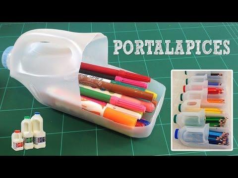 Portalápices con botella de plástico: Reciclaje