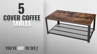 Top 10 Cover Coffee Tables [2018]: SONGMICS Antique Coffee Table Vintage Cocktail Table with Storage