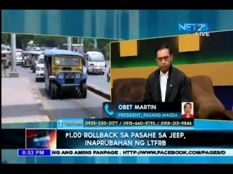 Diskusyon - LTFRB approves Php 1 rollback in jeepney fare
