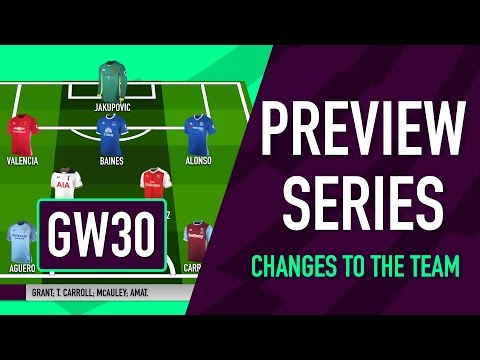 Gameweek 30 Preview | CHANGES TO THE TEAM | Fantasy Premier League 2016/17