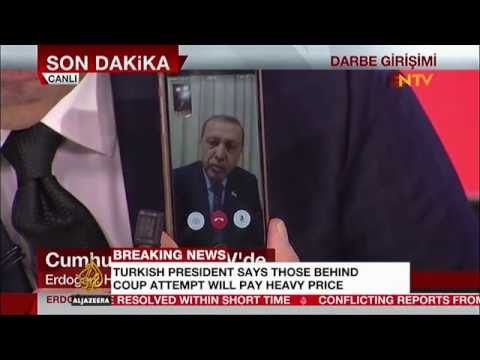 Turkish President Recep Tayyip Erdoğan makes a FaceTime call during attempted coup