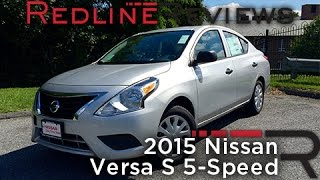 2015 Nissan Versa S 5-Speed Review, Walkaround, Exhaust, & Test Drive