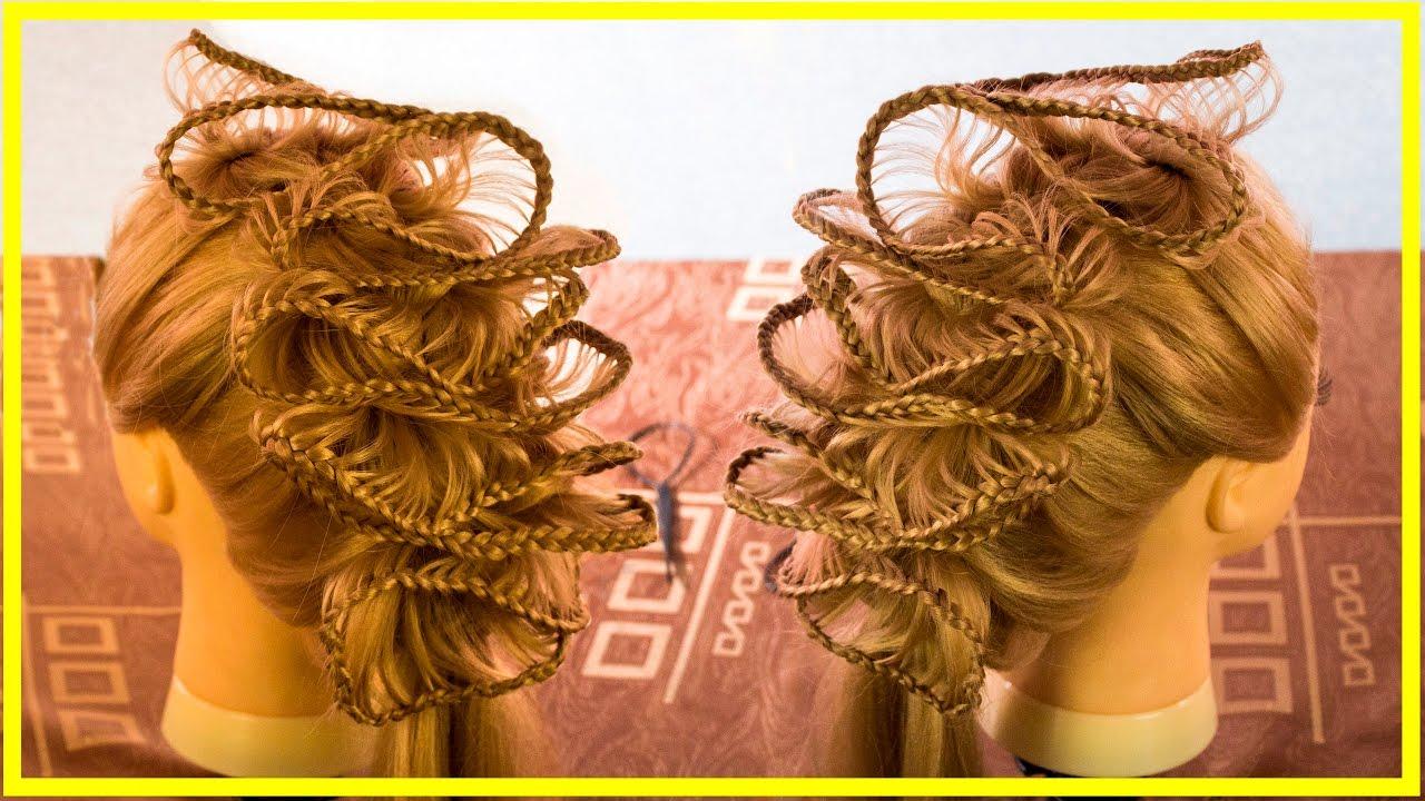 Ажурное плетение кос в прическе