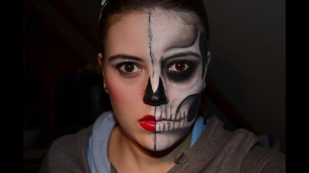 halloween half skull doll youtube. Black Bedroom Furniture Sets. Home Design Ideas