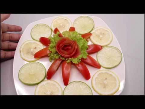 Art In Beautiful Tomato Flowers Lemon & Lettuce Carving Garnish Idea with Keven JR Art Carving
