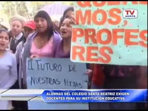 Cajamarca: Alumnas del colegio Santa Beatriz exigen docentes para su institución educativa 300315