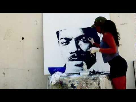 Tiffanie Anderson paints Eddie Murphy aka Prince Akeem