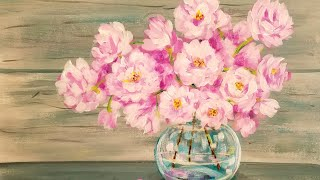 Easy Beginner Acrylic Painting Tutorial Pink Spring Flowers in Glass Vase LIVE