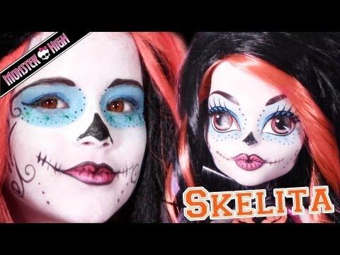 Skelita Calaveras Monster High Doll Costume Makeup Tutorial for Cosplay or Halloween Sugar Skull