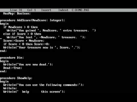 Making a game in Turbo Pascal 3.02 (DINO)