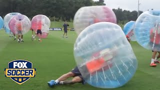 Barcelona try out bubble soccer