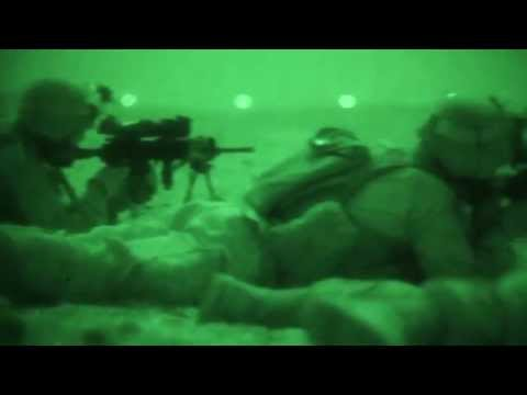 Marines in Qatar Conduct Live Fire Exercise at Night - Night Vision Footage During Eagle Resolve