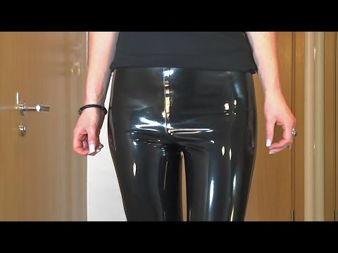 Sexy Latex Liquid Leggings with Red Stilettos