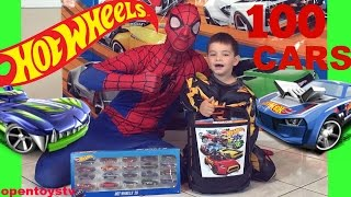 hot wheels 3 + 100 hot wheels cars case and playing with spiderman + toys review and toys open