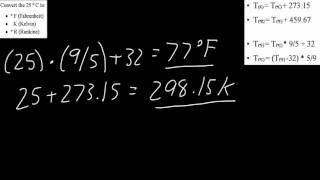 Example Convert Celsius to Fahrenheit, Kelvin, Rankine