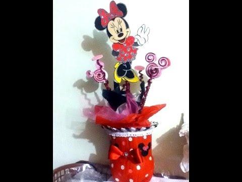Centro de mesa con Pet reciclaje mimi minnie mouse fiestas infantiles