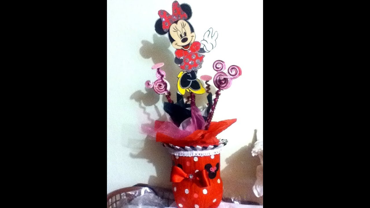 Centro de mesa con pet reciclaje mimi minnie mouse fiestas - Centros de mesa con botellas ...