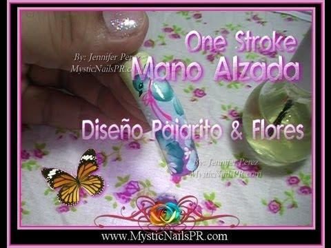 Mano Alzada Diseño Uñas Pajartio & Flores One Stroke :::... ☆ Jennifer P