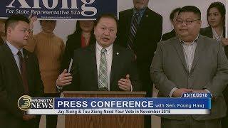 3 HMONG NEWS: PRESS CONFERENCE- Thov sawvdaws mus pov npav rau Tou Xiong & Jay Xiong.